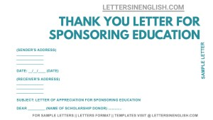 Sample Thank You Letter for Sponsoring Education, thank you letter for sponsoring my education sample, how to write thank you letter for sponsoring my education