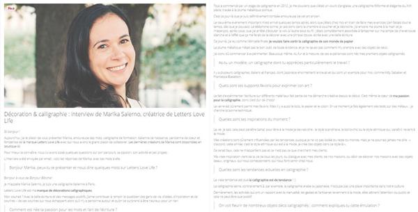 Intervista di Marika Salerno - Calligrafa e fondatrice di Letters Love Life - Per Bonjour Bibiche