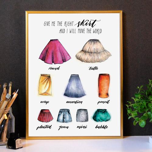 Affiche déco | Idée cadeau femme | Cadre doré | Mode, jupes et mots inspirants | LettersLoveLife