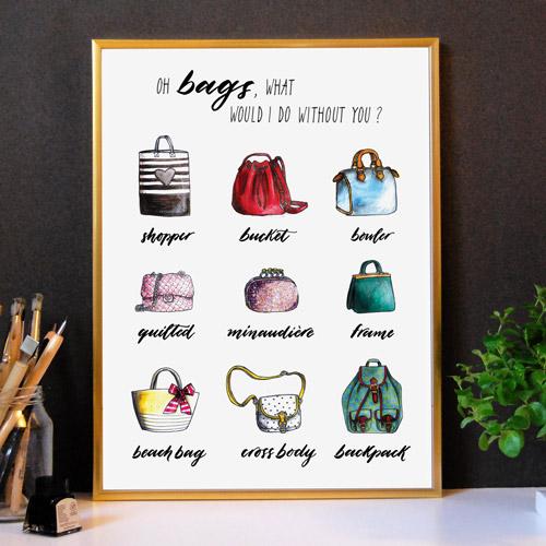 Affiche déco | Idée cadeau femme | Affiche typographique avec cadre doré | Mode, sacs à main et une citation inspirante | Collection Capsule Walook | Letters Love Life