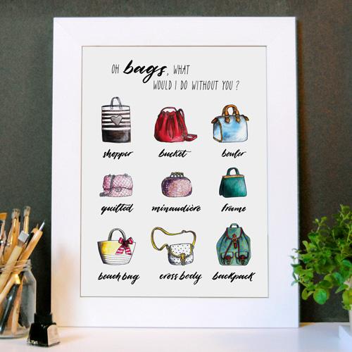 Idée déco | Affiche «Oh bags, what would I do without you? » (Oh sacs à main, que ferais-je sans vous ?) | Avec cadre blanc en bois | Dessins de mode + Typo | LettersLoveLife