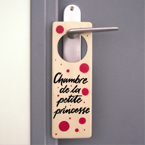 """Idée cadeau bébé et petite fille: Plaque de porte """"Chambre de la petite princesse"""""""