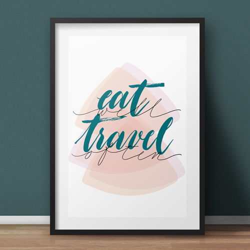 "Idea regalo per chi ama viaggiare: poster murali ""Eat well. Travel often"" 