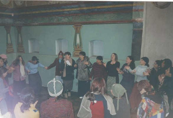 My classmates, teachers and I dancing and singing in the beautifully restored synagogue where the Jewish community of Lancut, Poland, once prayed.