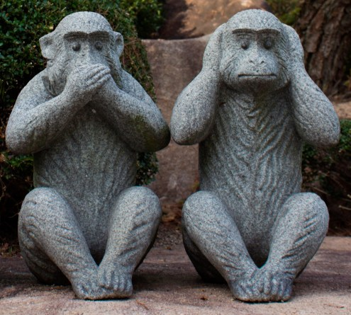 Speak no evil, hear no evil. Image is cropped from this image by japanexperterna.se.