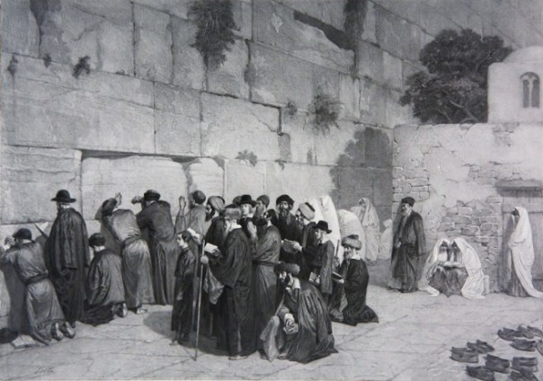 Le mur des lamentations d'après, Alexandre Bida (1813-1895). A painting by a French artist depicting Jews praying at the Wall around the year 1880.