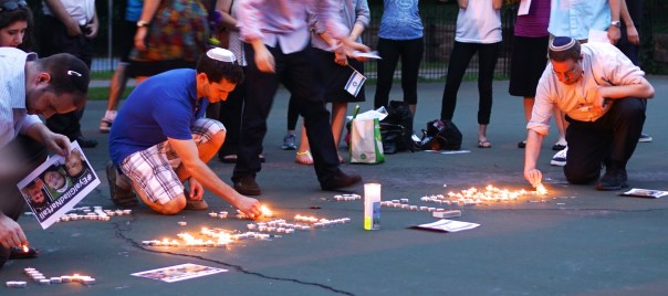 "Not only in Israel, either. This one was in Washington DC. ""Candlelight Vigil in Memory of Naftali, Eyal and Gilad"" by Ted Eytan, under CC BY SA 2.0"
