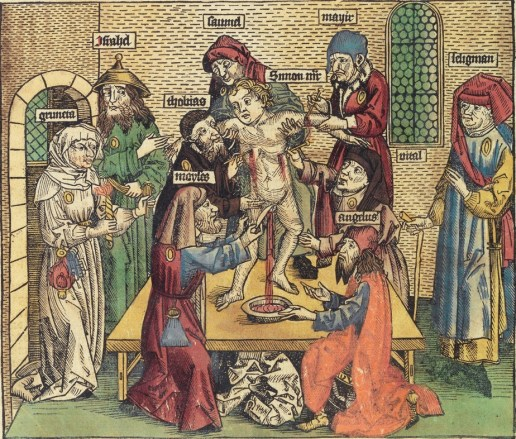 A medieval depiction of Jews collecting the blood of a Christian child. Notice the child's posture--reminiscent of the crucifixion.