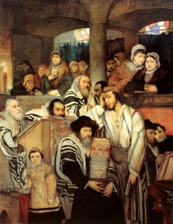 "This painting by Maurycy Gottlieb, ""Jews praying in the Synagogue on Yom Kippur"" (1878), is more haunting than it looks at first. If you look closely, you'll notice that each male figure is a self-portrait of the painter at different ages and stages of his life. The female figure is the painter's wife. I think this painting is such a powerful visual representation of what Yom Kippur is."