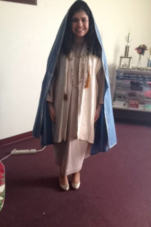 Alana as the Virgin Mary