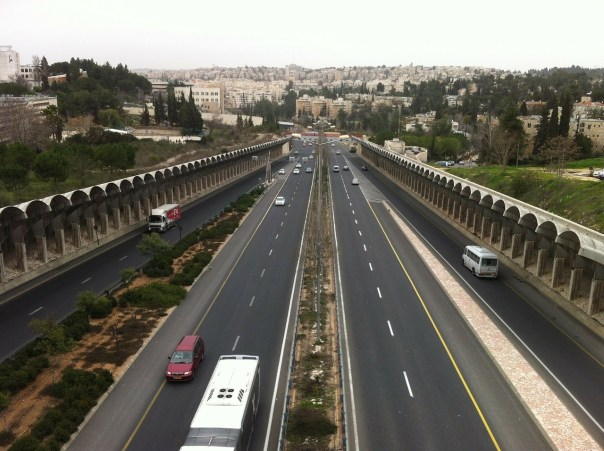 The Menachem Begin Highway that cuts through Jerusalem