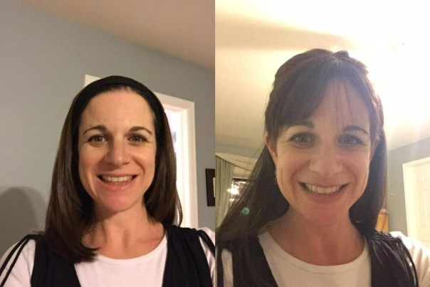 """Deborah Friedman was kind enough to send me these photos of her in her sheitels. The one on the left is called a """"fall"""", which is held in place by a headband, and the one on the right is a full wig."""