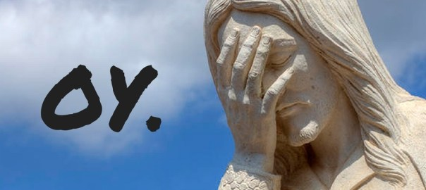 "pic of Jesus statue captioned with ""oy."""