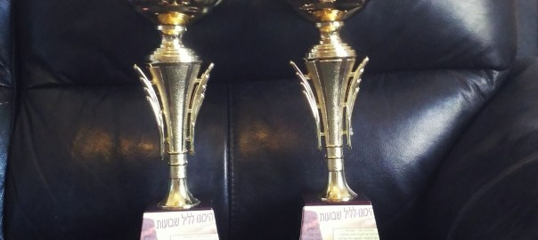 photo of two large trophies