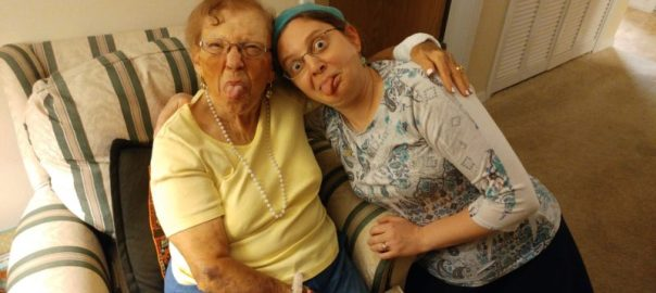 photo of Daniella and her grandmother sticking their tongues out
