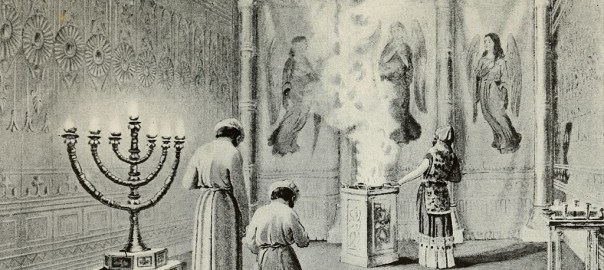illustration of Aaron offering incense and his sons bowing behind him