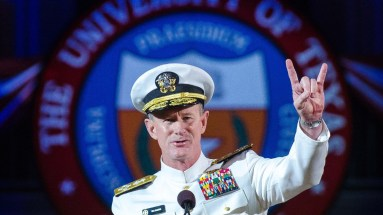 Admiral McRaven giving commencement speech.