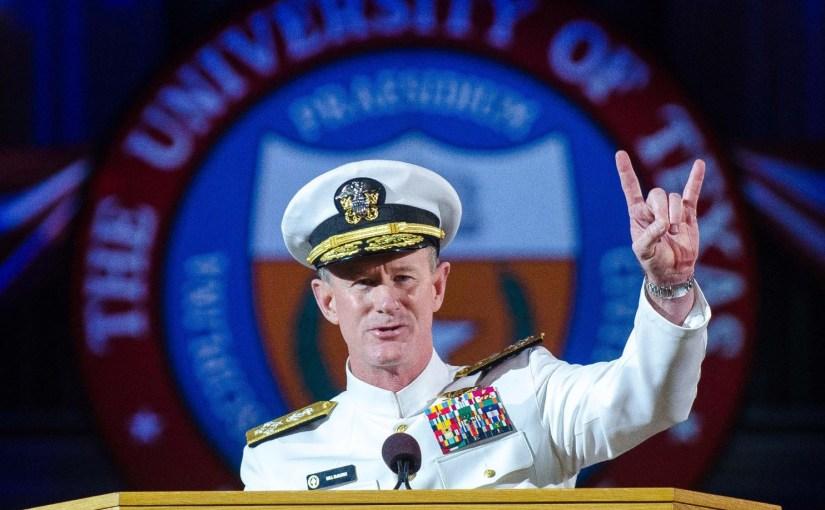 Admiral McRaven giving commencement speech.