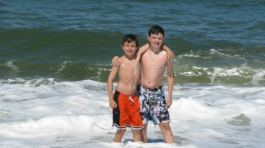 Gavin and Riley in the water