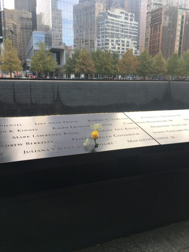 The 9/11 Memorial in NYC includes the names of all the victims from that tragic day.