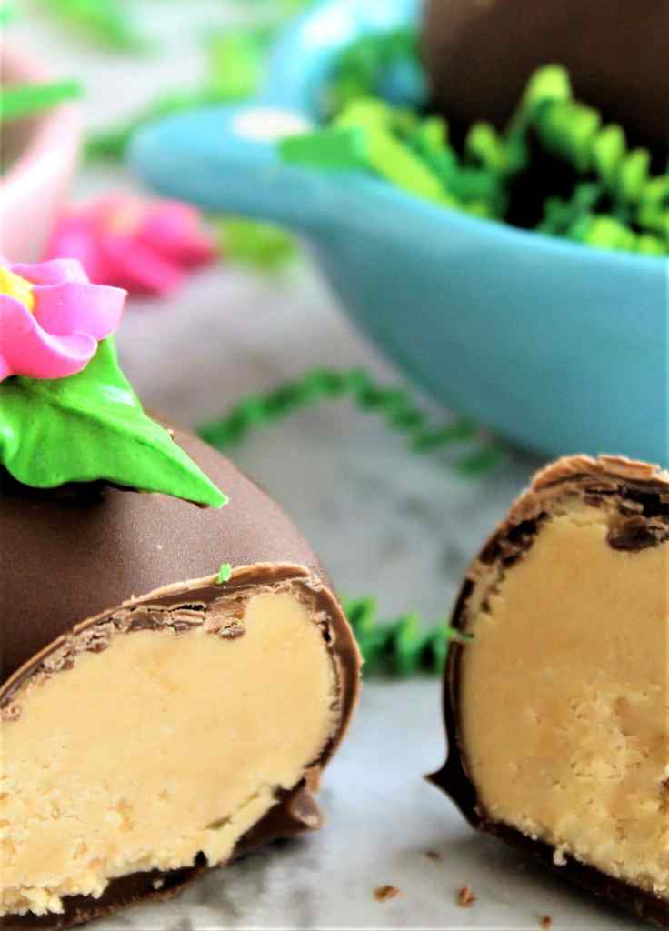cut open chocolate dipped peanut butter easter egg