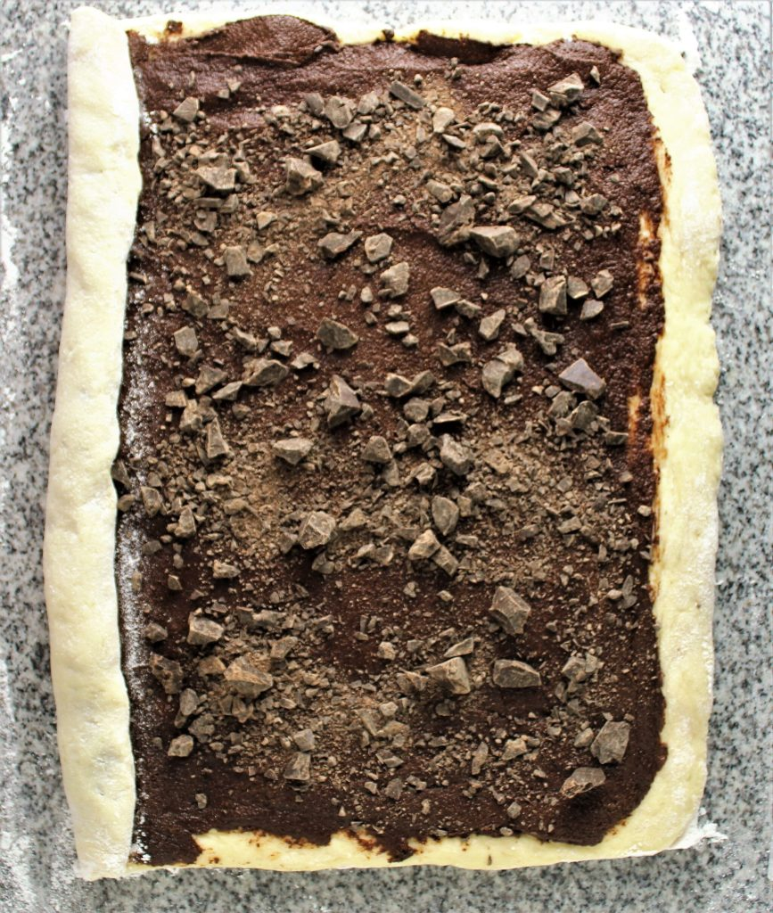 gluten free chocolate babka spread with chocolate filling