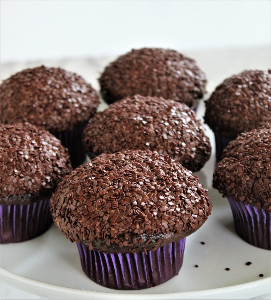 gluten free triple chocolate cupcakes on cake stand