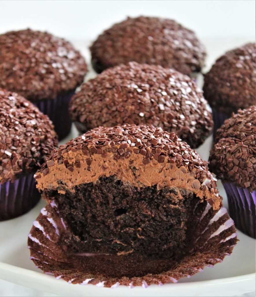 inside shot of gluten free triple chocolate cupcake