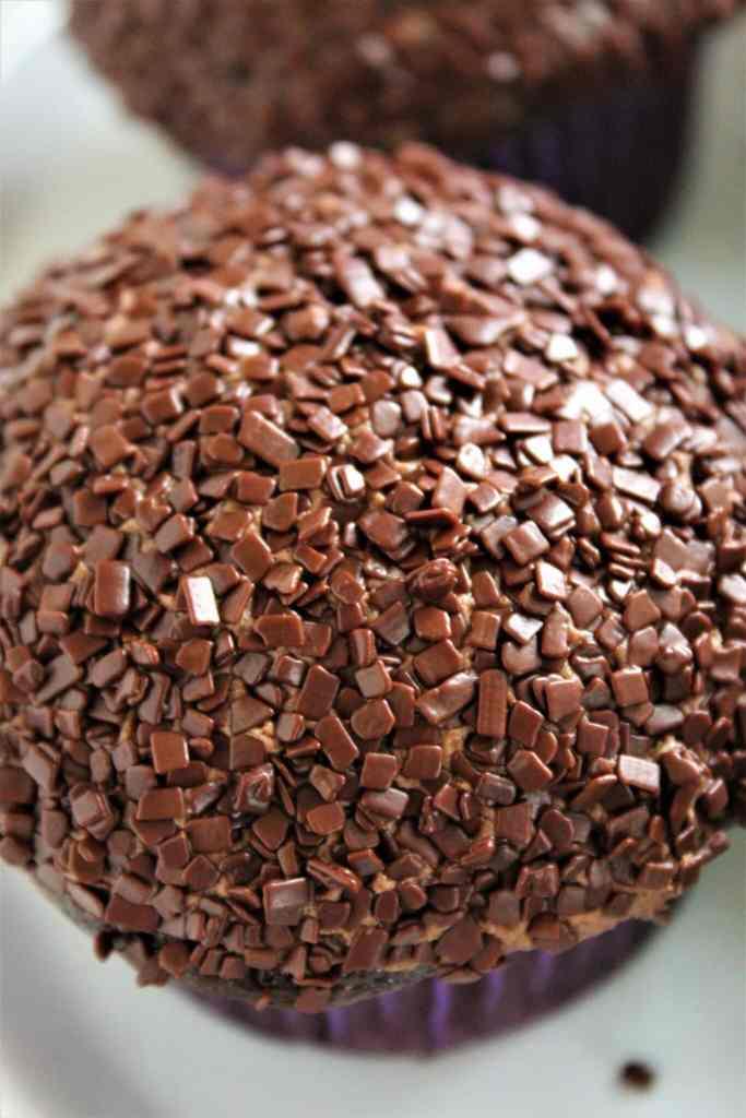 close up of gluten free triple chocolate cupcake