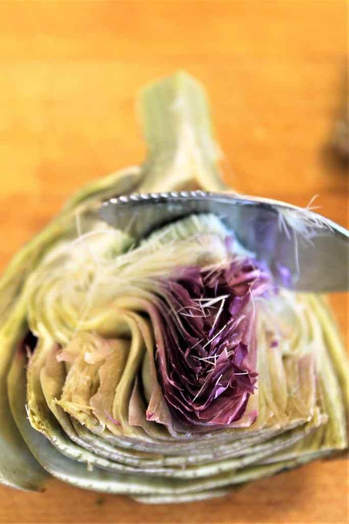 removing choke from artichoke