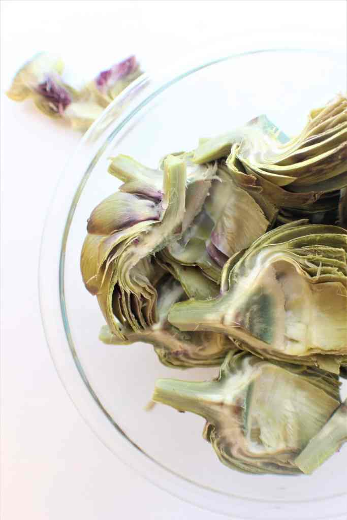 bowl of cooked artichokes