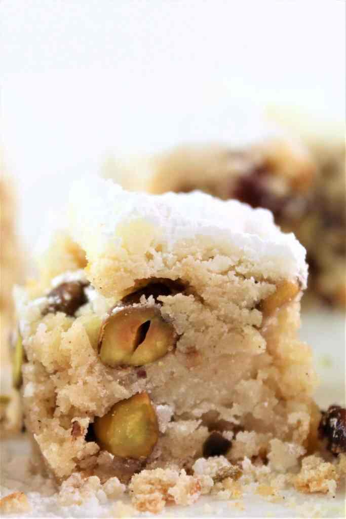 close up of gluten free stollen bars