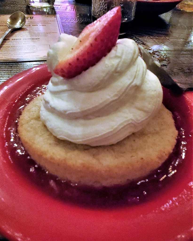 gluten free strawberry shortcake in red bowl