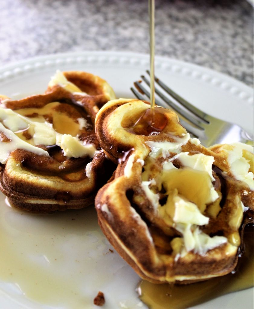 mickey waffles with butter and syrup