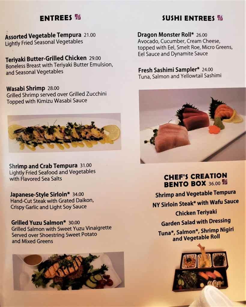 sushi rolls menu at tokyo dining