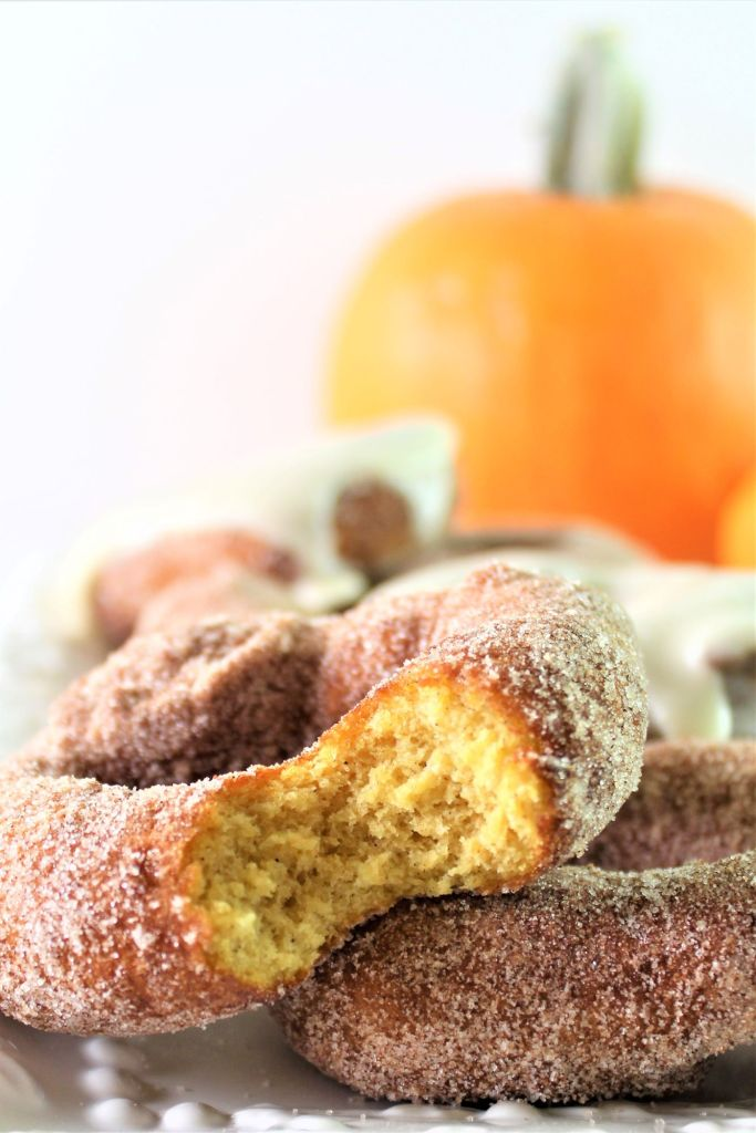 pumpkin donuts with a bite taken out of one