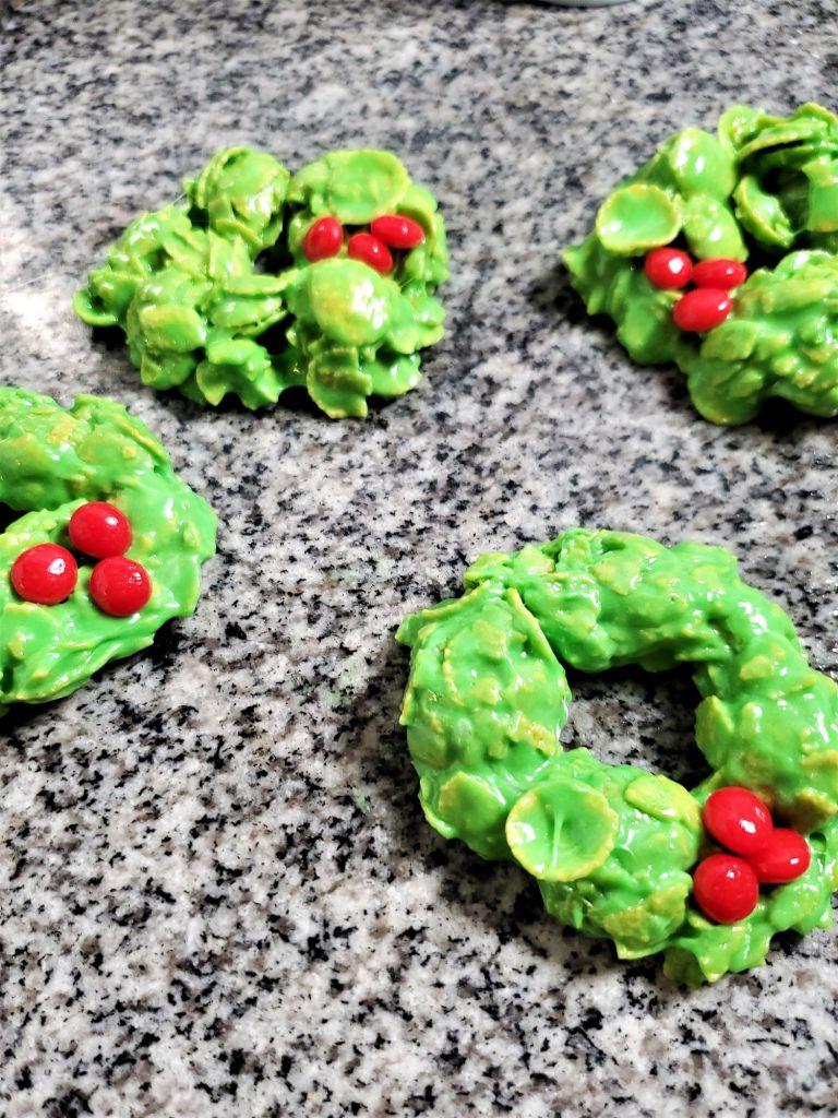 shaping wreaths on granite countertop