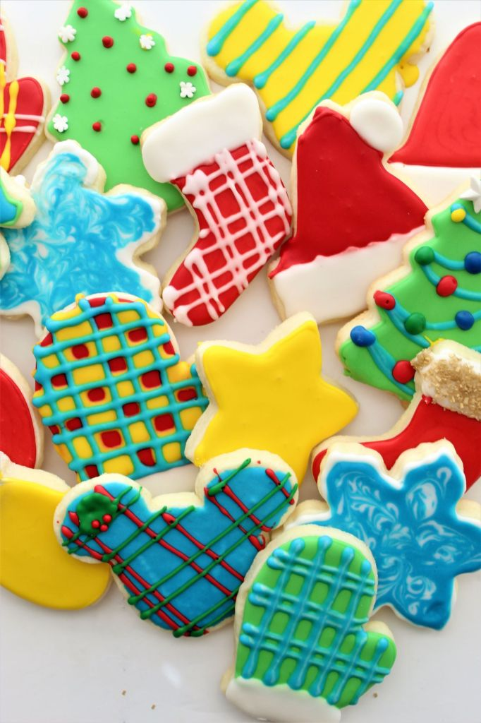 decorated cutout cookies on white background