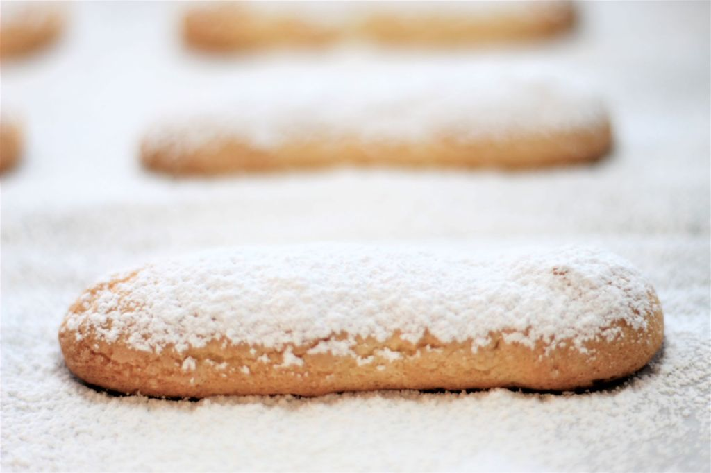ladyfingers on baking sheet covered in powdered sugar
