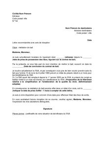 Rsiliation Du Bail Par Le Locataire Modle De Lettre