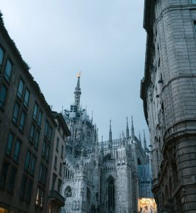 evening milan street and cathedral of nativity of saint mary