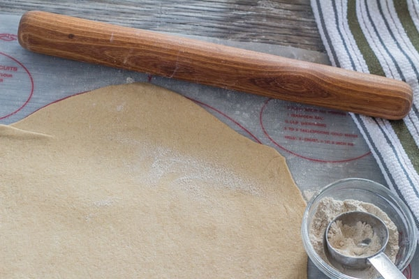whole wheat pizza dough rolled thinly