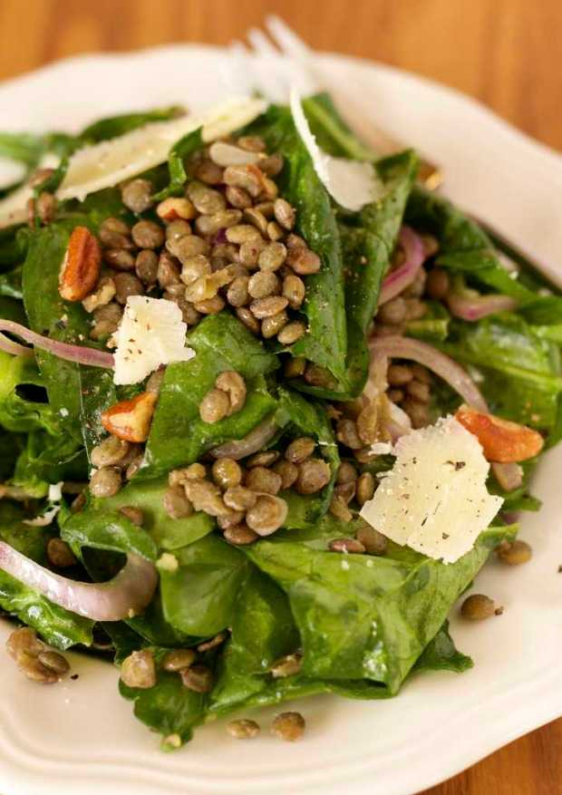 Wilted Spinach and Green Lentil Salad