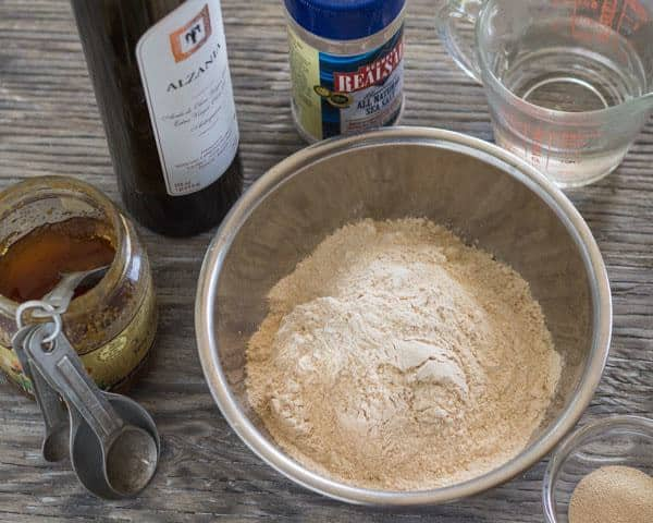 ingredients for Thin and Crispy whole wheat pizza dough