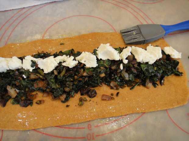 filling Whole Wheat Kale and Olive Stromboli