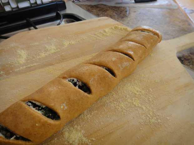 ready to bake Whole Wheat Kale and Olive Stromboli