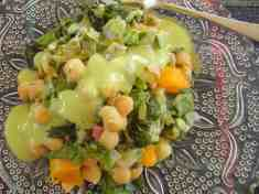 Chard and Chickpeas with Avocado Sauce