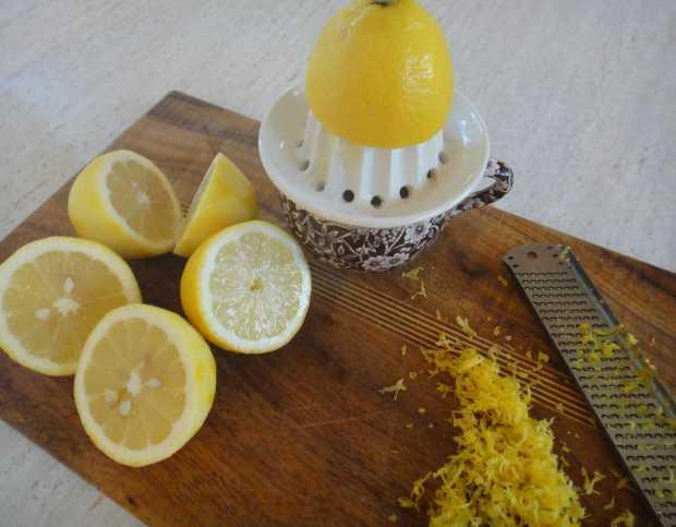zest and lemon squeezing for Lemon Basil Lemonade