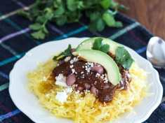 Mexican Spaghetti Squash with Easy Enchilada Sauce