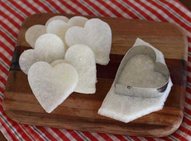jicama heart cutouts for Salad with Jicama and Cumin Lime Dressing | Letty's Kitchen
